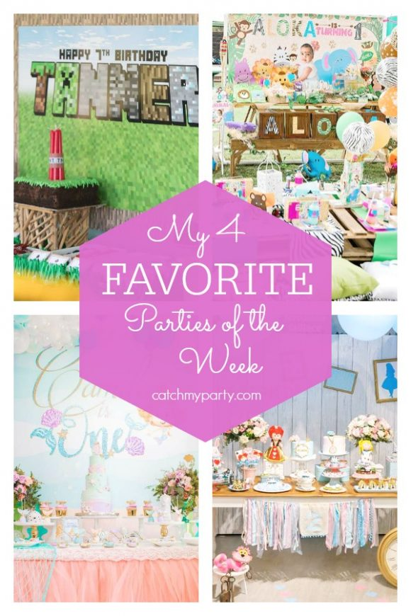 My favorite parties this week include an Minecraft birthday, a safari 1st birthday, an under the sea party and an Alice in Wonderland birthday party | CatchMyParty.com