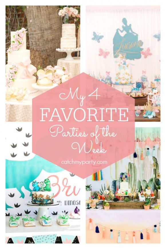 My favorite parties this week include a Minnie Mouse birthday party, a Cinderella birthday, a dinosaur birthday party, and a llama fiesta | CatchMyParty.com