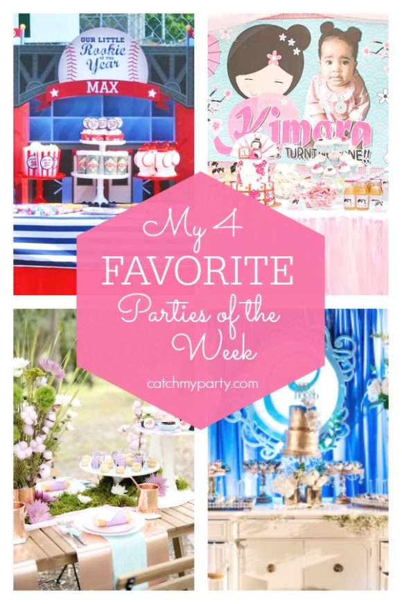 My favorite parties this week include this fun baseball party, a Japanese garden birthday party, a Mother's day picnic, and a 80th birthday garden party | CatchMyParty.com