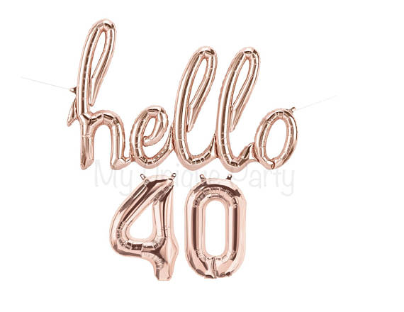 Hello 40 Balloon Backdrop | CatchMyParty.com