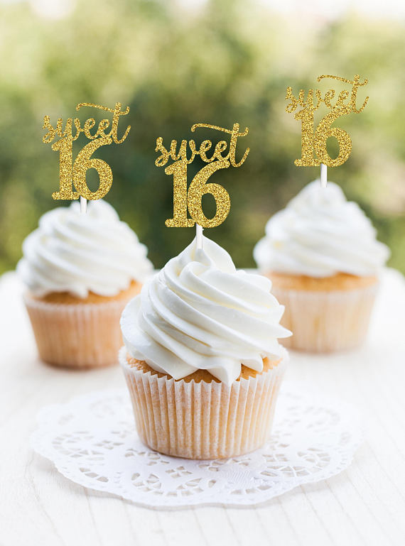Sweet 16 Birthday Cupcake Toppers