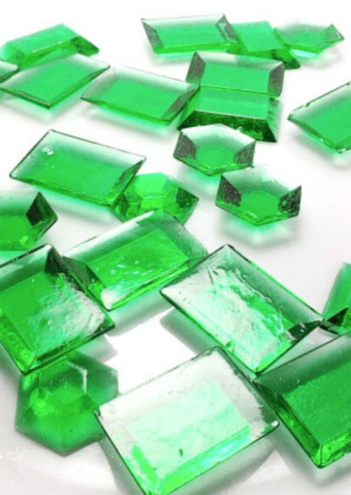 Green Edible Sugar Gems