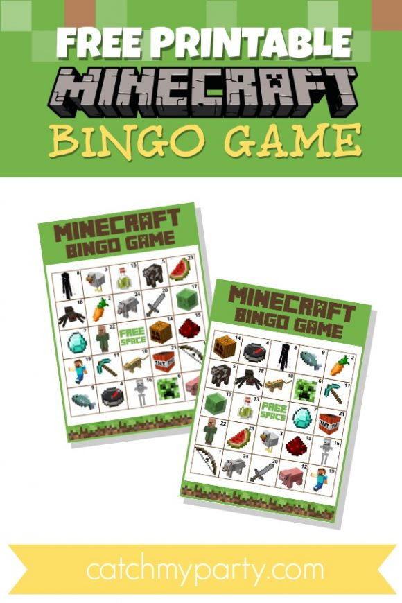 Free Printable Minecraft Bingo Game | CatchMyParty.com