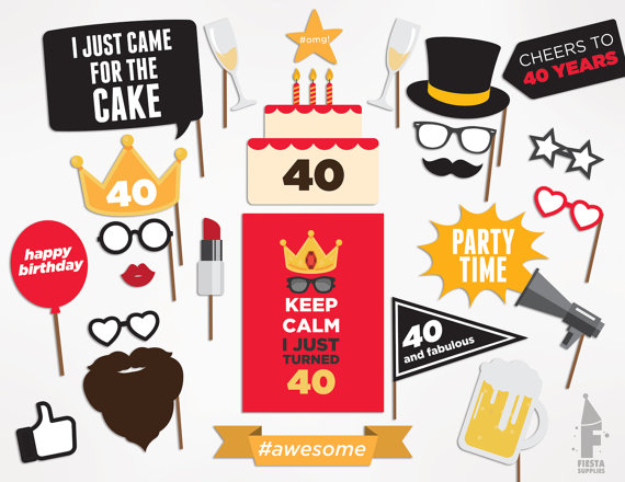 40th Birthday Photo Booth Props | CatchMyParty.com