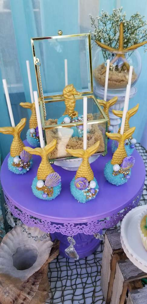 Mermaid 1st birthday party | CatchMyParty.com