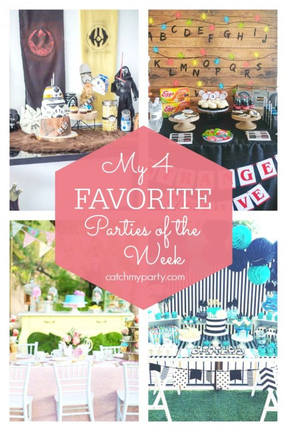 My favorite parties this week include a Star Wars birthday party, a Stranger Things birthday party, a tea party, and a pamper birthday party | CatchMyParty.com