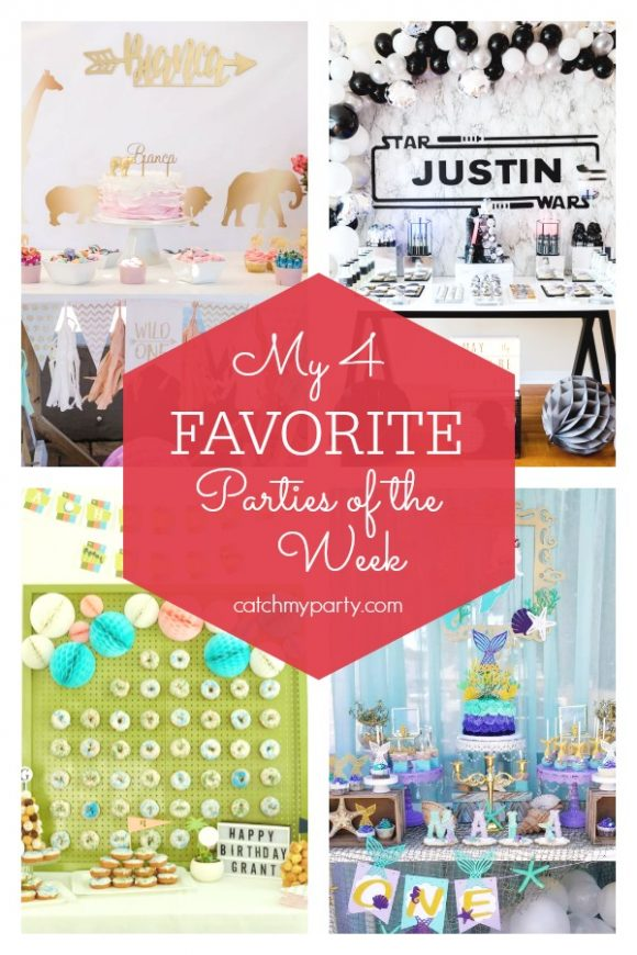 My favorite parties this week include a safari wild one birthday party, a Star Wars birthday party , a retro Palm Springs golf birthday party, and a mermaid 1st birthday party | catchmyparty.com