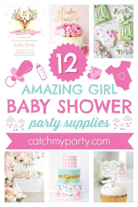 The 12 Most Amazing Girl Baby Shower Party Supplies | CatchMyParty.com