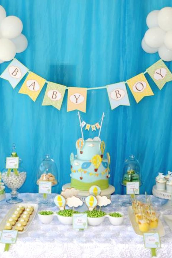 Hot air balloon baby shower | Catchmyparty.com