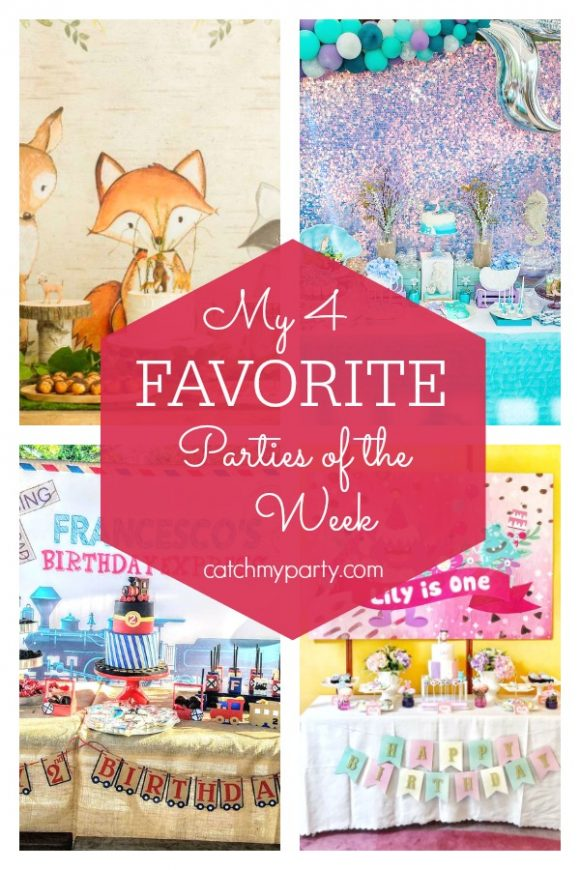 My favorite parties this week include a woodland baby shower, a mermaid birthday party, a vintage train birthday party, and a monster birthday party | CatchMyParty.com