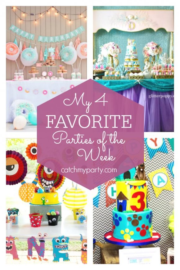My favorite parties this week include this a donut party, a mermaid birthday party, a monster themed birthday party, and a paw patrol birthday party | CatchMyParty.com