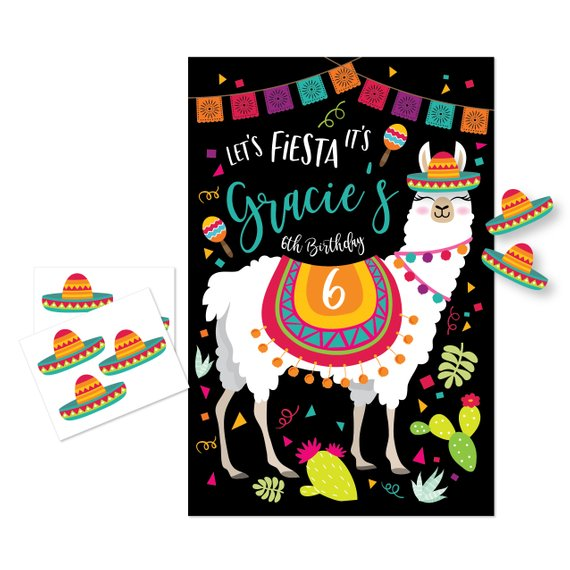 Llama party supplies - Pin the Sombrero | CatchMyParty.com