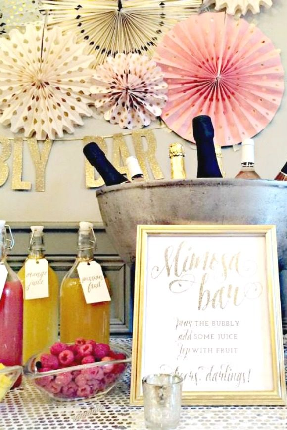 Bubbly Bar Bridal Shower |CatchMyParty.com