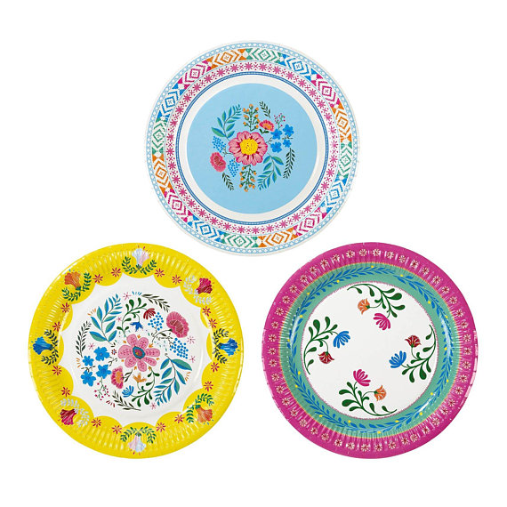 Llama party supplies - Floral Boho PaperPlates | CatchMyParty.com