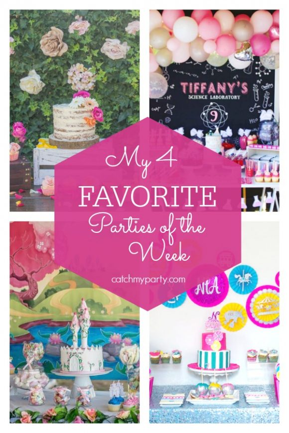 Our favorite parties this week include a bohemian baby shower baby shower, a science birthday party, a princess and knight birthday party, and a carnival birthday party | CatchMyParty.com