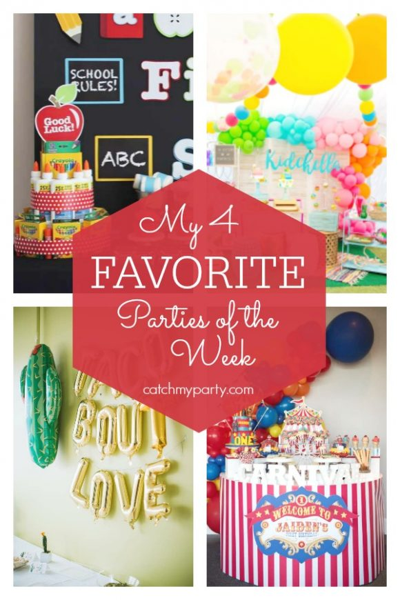 My favorite parties this week include a back to school party, a boho chic Coachella birthday party, a fiesta themed bridal shower, and a carnival 1st birthday party.