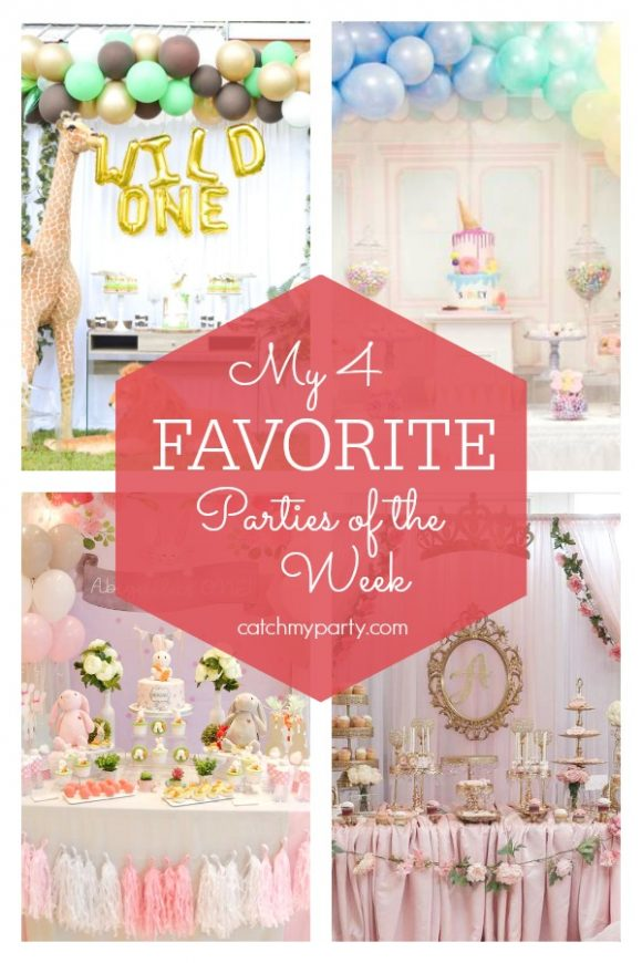 My favorite parties this week include a dinosaur birthday party, a Peppa Pig birthday party, a Kate Spade graduation, and a woodland birthday party | CatchMyParty.com