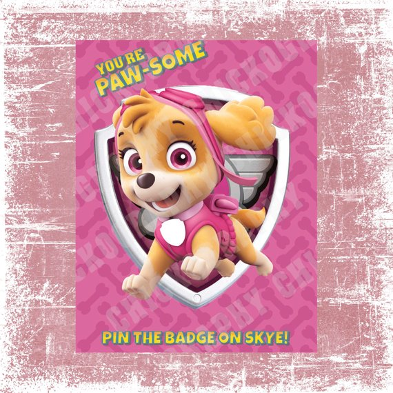 Paw Patrol party supplies - Pin the Badge | CatchMyParty.com