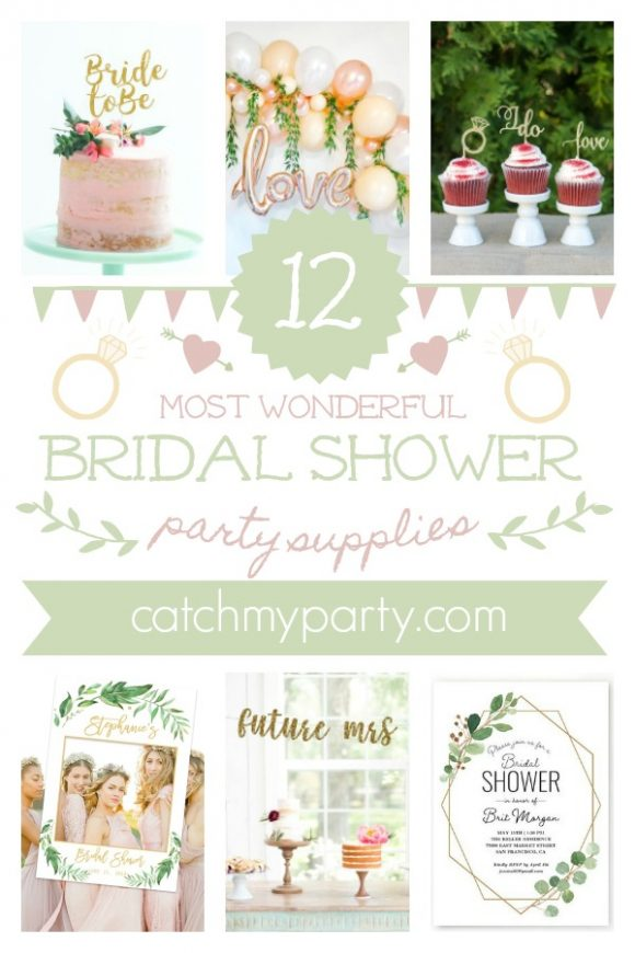 Here Are The 12 Most Wonderful Bridal Shower Party Supplies | CatchMyParty.com