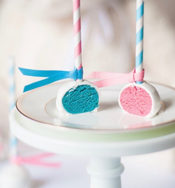 Gender Reveal party supplies - Cake Pops| CatchMyParty.com