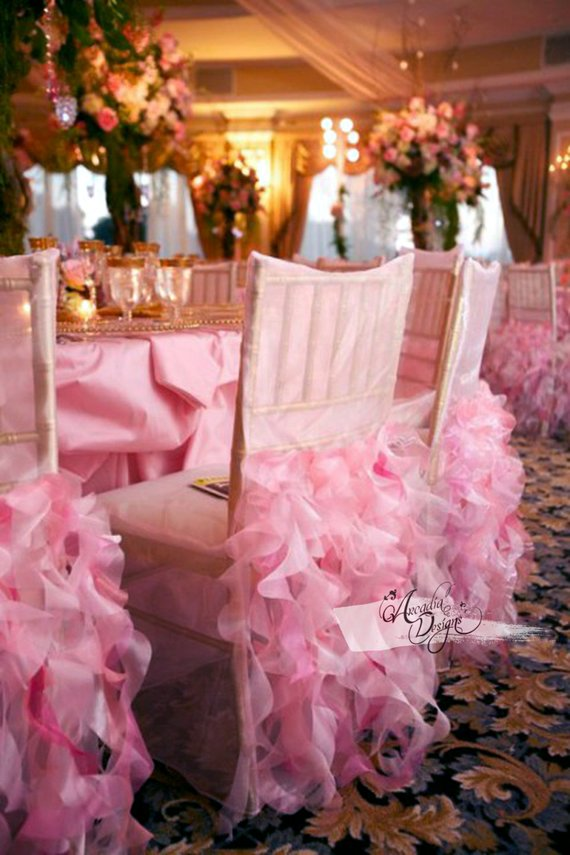 Quinceanera party supplies - Ruffle Chair Cover | CatchMyParty.com