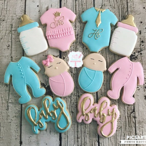 Gender Reveal party supplies - Cookies | CatchMyParty.com