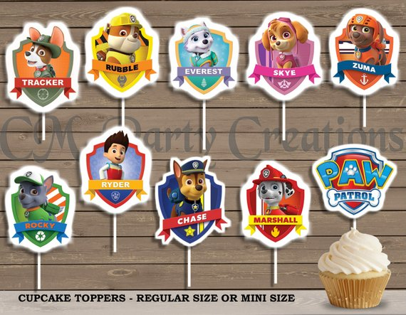 Paw Patrol party supplies - Cupcake Toppers | CatchMyParty.com