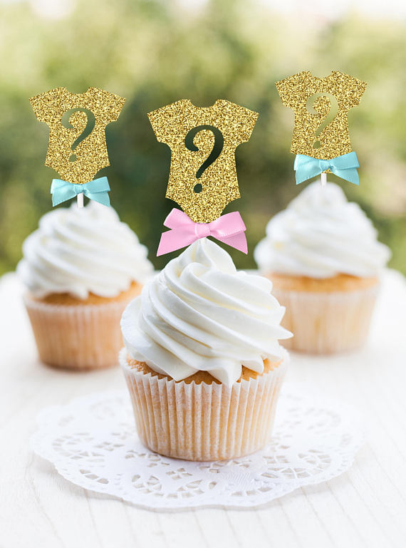 Gender Reveal party supplies - Cupcake Toppers | CatchMyParty.com