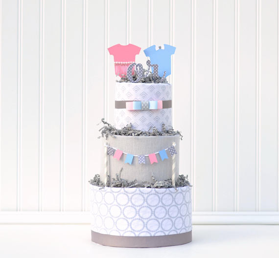 Gender Reveal party supplies - Diaper Cake | CatchMyParty.com