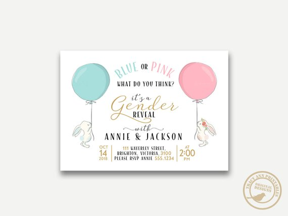 Gender Reveal party supplies - Invitation | CatchMyParty.com