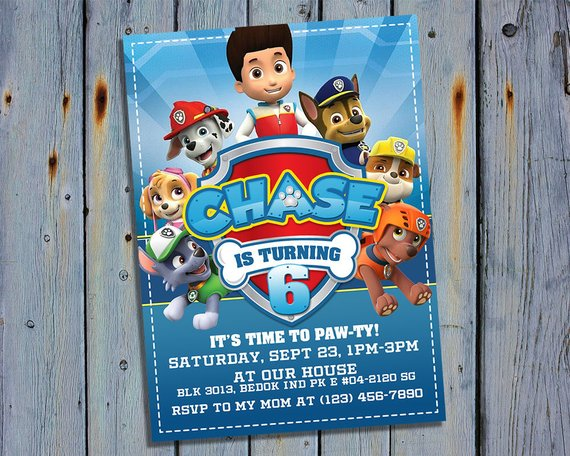 Paw patrol party invitation | CatchMyParty.com