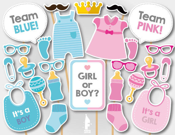 Gender reveal party supplies - Photo Booth Props | CatchMyParty.com