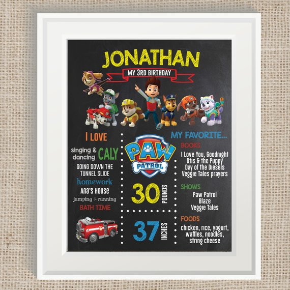 Paw Patrol party supplies - Chalkboard Birthday Poster | CatchMyParty.com