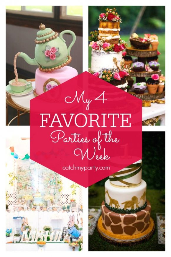 My favorite parties this week include this stunning tea party baby shower, a wonderful Peter Rabbit birthday party, a enchanted Secret Garden 70th birthday party, and an awesome jungle 1st birthday party. I CatchMyParty.com