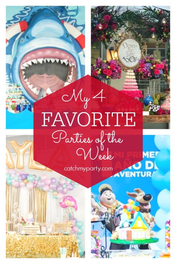 My favorite parties this week include a shark party, an Alice in Wonderland birthday party, a princess mermaid birthday party, and a Disney Pixar Up 1st birthday party. | CatchMyParty.com