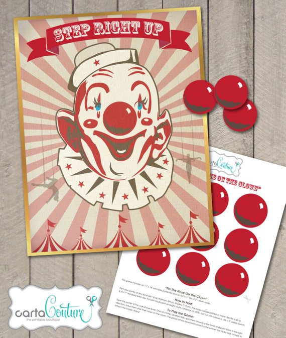Circus party game supplies - Pin the Nose on the Clown | CatchMyParty.com
