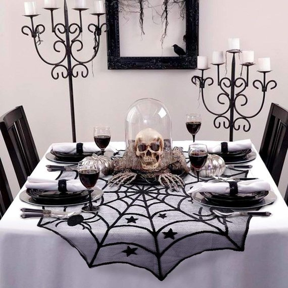 Scary Halloween decoration supplies - Lace Spiderweb Tablecloth | CatchMyParty.com