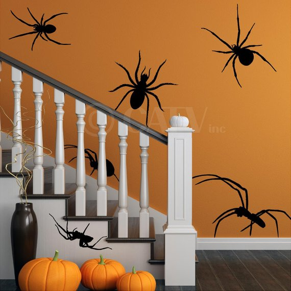 Scary Halloween decoration supplies - Spider Wall Stickers | CatchMyParty.com