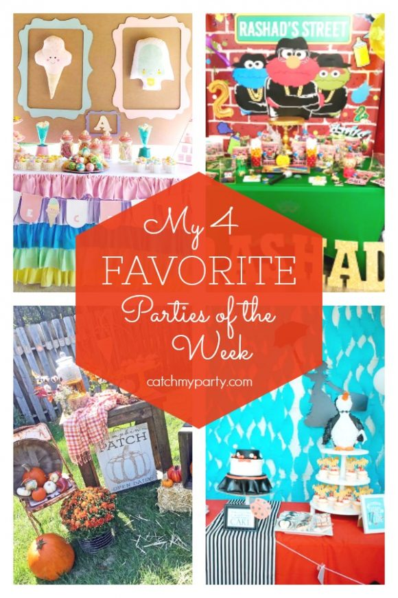 My favorite parties this week include this awesome ice cream party, an awesome hip hop Sesame Street birthday, a gorgeous pumpkin baby shower, and a gorgeous Mary Poppins birthday party | CatchMyParty.com