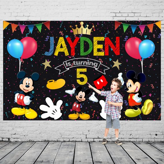 Mickey Mouse party supplies - Backdrop | CatchMyParty.com
