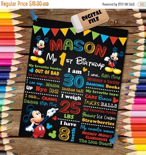 Mickey Mouse party supplies - Chalkboard Birthday Poster | CatchMyParty.com