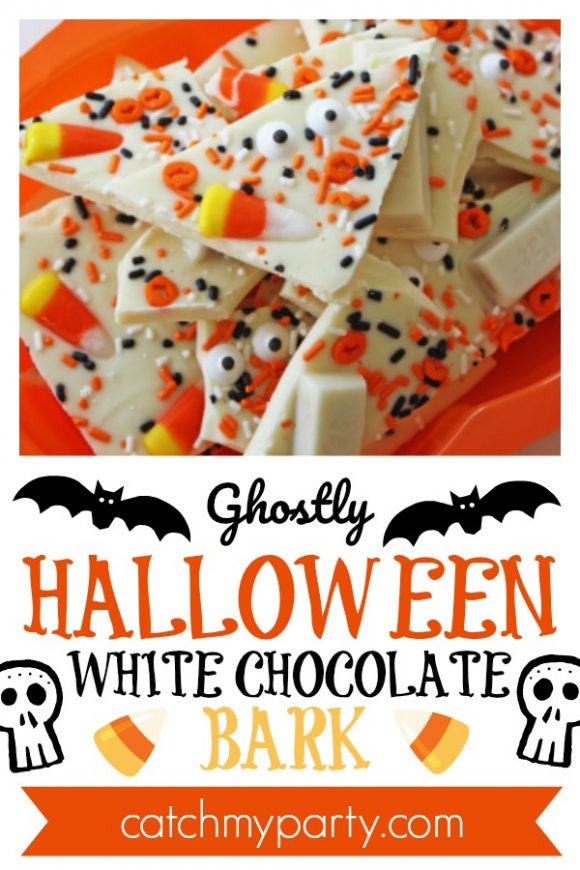 Ghostly Halloween White Chocolate Bark | CatchMyParty.com