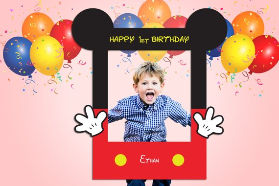 Mickey Mouse party supplies - Photo Booth Frame | CatchMyParty.com