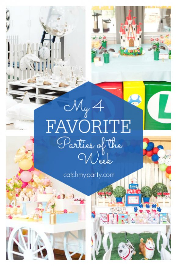 My favorite parties this week include this dinosaur birthday party, a Super Mario birthday party, a princess birthday party, and a dog themed birthday party | CatchMyParty.com