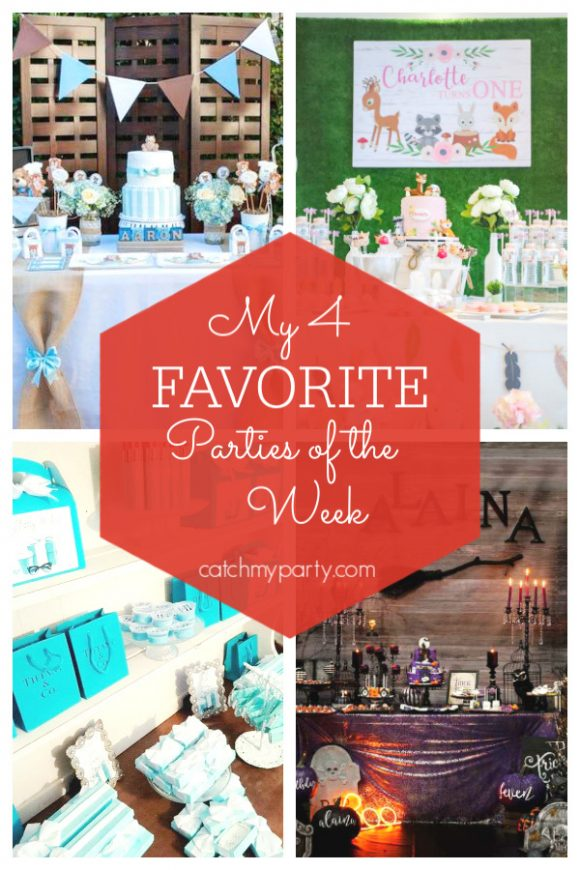 Our favorite parties this week include an adorable teddy bear baby shower, a rustic woodland birthday party, an stylish breakfast at Tiffany's birthday party, and a spooky Halloween party | CatchMyParty.com