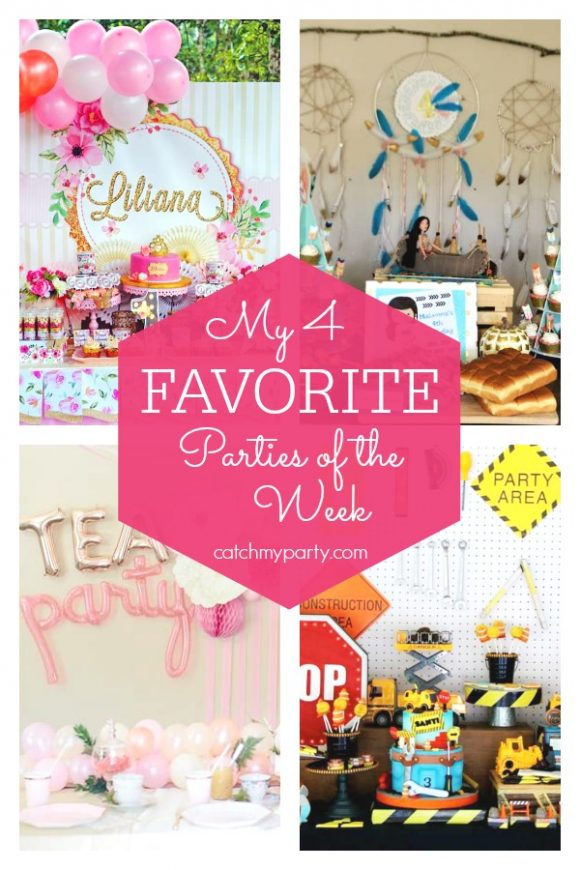 Our favorite parties this week include a princess birthday party, a Pocahontas birthday party, a vintage floral tea party, and a construction birthday party | CatchMyParty.com