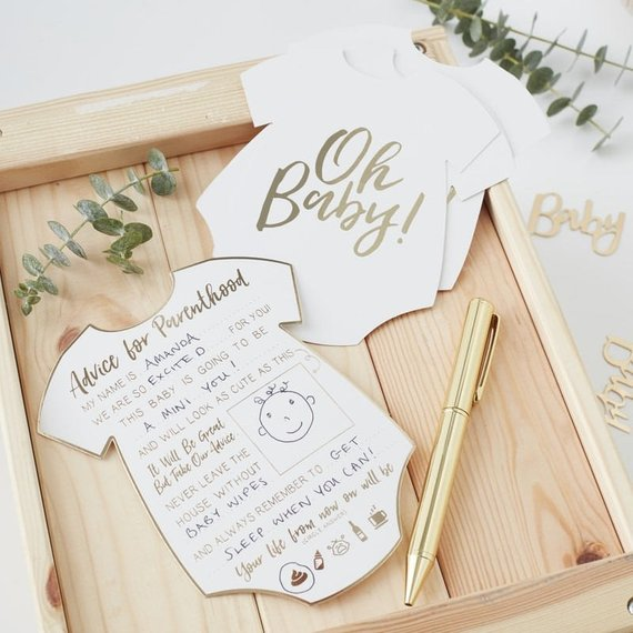 Baby shower party game supplies - Advice Cards | CatchMyParty.com
