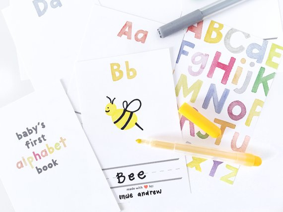 Baby shower party game supplies - Alphabet Book | CatchMyParty.com