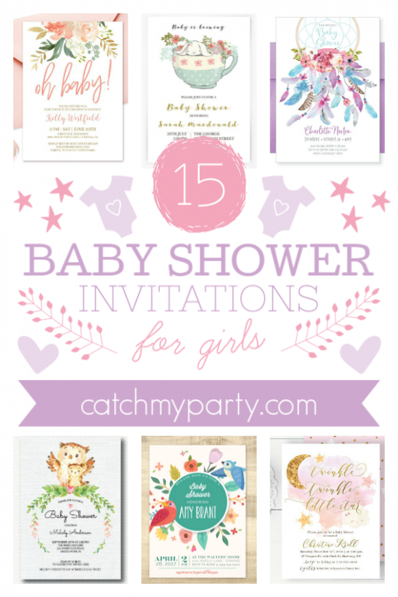 The 15 Prettiest Baby Shower Invitations for Girls | CatchMyParty.com