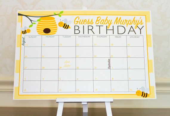 Baby shower party game supplies - Guess the Due Date Calendar | CatchMyParty.com